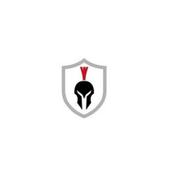 spartan helmet inside the shield for logo design vector image