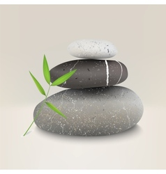 stones with bamboo leaf vector image