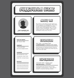 strong and bold black resume template vector image
