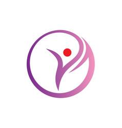 Success woman beauty sport round logo vector
