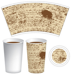 Template paper cup with the texture of manuscript vector