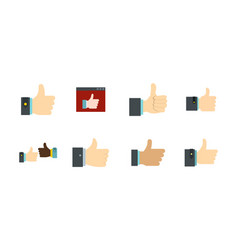 thumb up icon set flat style vector image