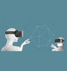 two men wearing vr headsets abstract virtual vector image