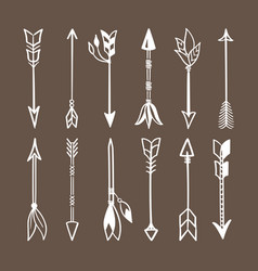 various arrows for bow set white weapons indian vector image