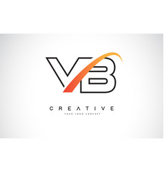 Vb v b swoosh letter logo design with modern vector