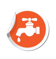 Water tap icon orange sticker vector