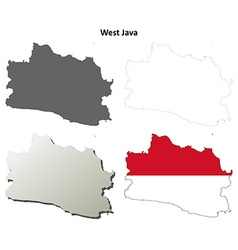 West Java blank outline map set vector image