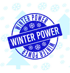 Winter power scratched round stamp seal for xmas vector