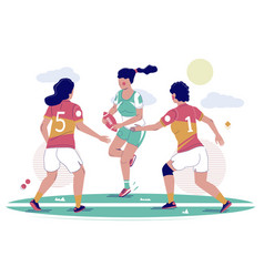 women rugby football game flat vector image