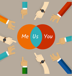You and me are us concept of team work vector