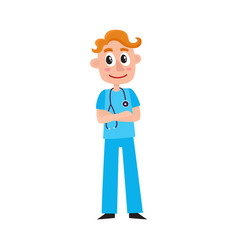 Young male doctor therapist intern in scrubs vector