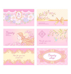 beauty salon cards vector image vector image