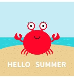 Crab on the beach Sea ocean sky sand Cute cartoon vector image