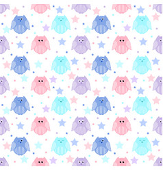 cute blue light blue pink and violet owls with vector image vector image