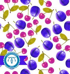 Cherry and plum Seamless Pattern vector image