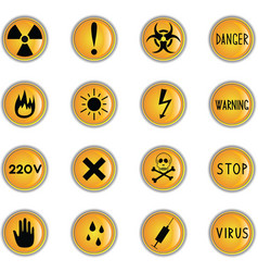danger theme icons vector image vector image