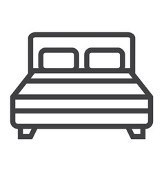 double bed line icon furniture and interior vector image