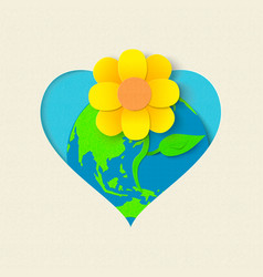 Earth day paper cut flower environment concept vector