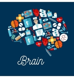 Human brain icon made up of healthcare symbols vector image