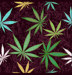 seamless pattern with colorful leaves of marijuana vector image