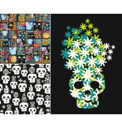 Set of with cute skulls and flowers vector image
