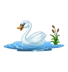 Cartoon beauty swan floats on water vector