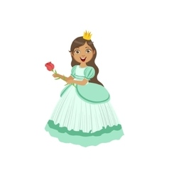 Little Girl In Turquoise Dressed As Fairy Tale vector image