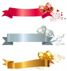 three banners with jewels vector image vector image