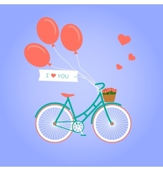 with bike and flowers vector image