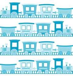Baby boy background with blue cartoon toy train vector image