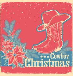 cowboy christmas retro card with american western vector image vector image