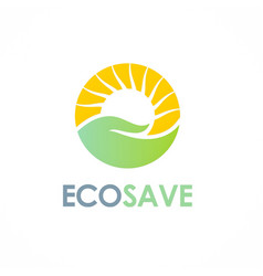nature save care sun logo vector image vector image
