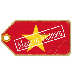 Vintage label with the flag of Vietnam vector image vector image