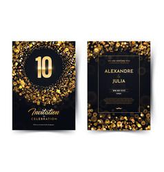 10th years birthday black paper luxury vector