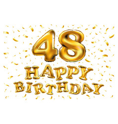 48 years golden aluminum foil balloon anniversary vector