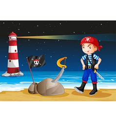 A pirate near the lighthouse vector