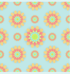 Abstract seamless pattern with colored flowers vector