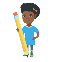 African kid girl standing with a huge pencil vector