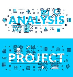 Analysis and Projects Modern style words heading vector image