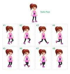 Animation girl walking vector