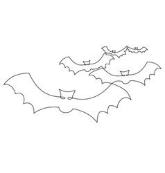 bats one line drawing vector image