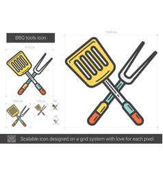 Bbq tools line icon vector