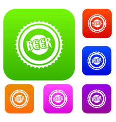 beer bottle cap set collection vector image vector image