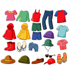 Big set clothes on white background vector