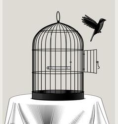 Bird cage and a black bird flying away vector