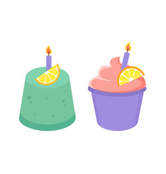 Birthday cakes collection vector