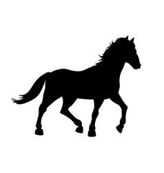 black silhouette of galloping horse vector image