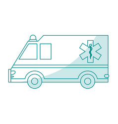 Blue silhouette shading cartoon ambulance truck vector