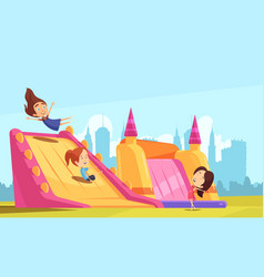 Bouncy castle flat composition vector