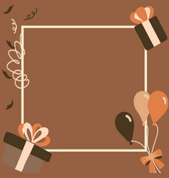 Brown gift boxes happy birthday in square vector